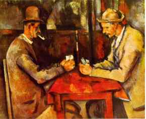 One of Paul Cezanne's paintings in a series called Card Players. Qatar bought this for a reported $250 million